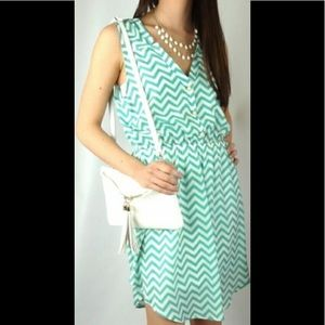 EVERLY Chevron Dress with Pearl Buttons